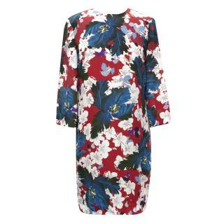 Erdem White Reese Floral-Print  Dress