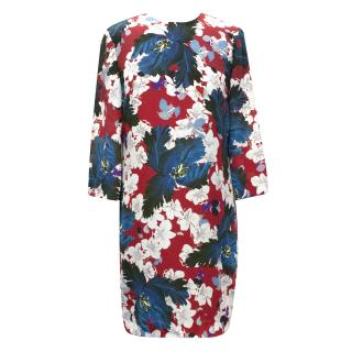 Erdem White Reese Floral-Print  Dress