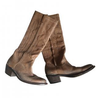 Golden Goose original tan cowboy boots