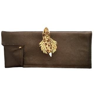Maison Du Posh Large Flap Over Finger Ring Faded Leather Clutch