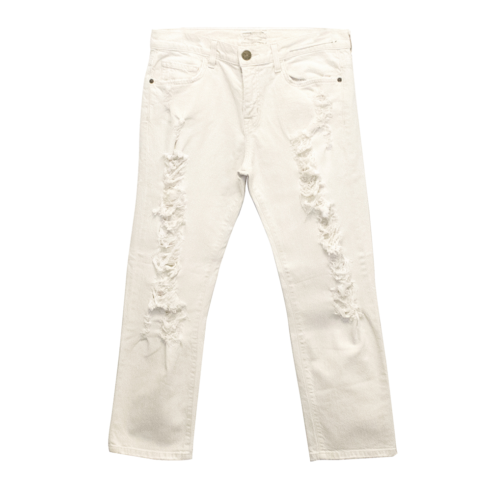 Current/Elliot Off White Distressed Boyfriend Jeans