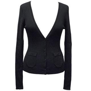 Hoss Intropia Black Rib Knit Cardigan