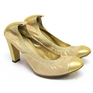 Chanel Gold Heels
