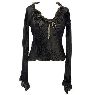 Roberto Cavalli Black Sheer Top with Gold Detailing