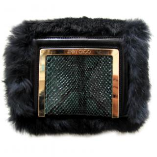 Jimmy Choo AVA Aegean Rabbit fur and Python Clutch/Shoulder