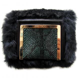 Jimmy Choo AVA Aegean Rabbit fur and Python Clutch/Shoulder