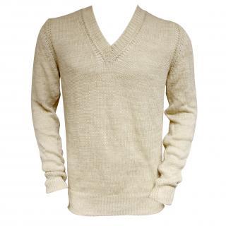 Falke mens beige linen heavy knit jumper