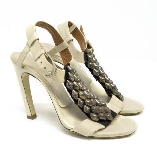 Dries Van Noten Cream Sandal Heels