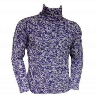 Falke mens purple Cashmere knitted polo neck jumper