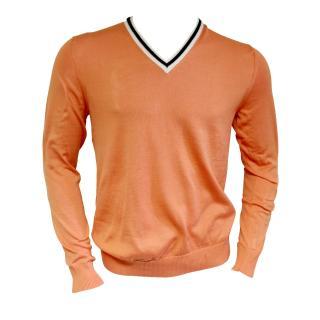 Falke mens cotton orange v-neck sweater