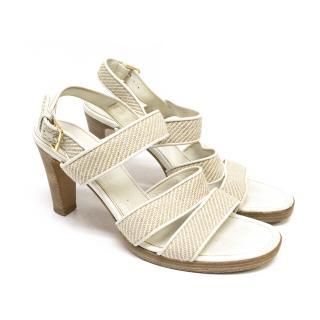 Loro Piana White Sandal Heels
