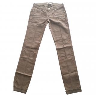 Pierre Balmain Wax Coated Khaki Skinny Jeans in Size 24