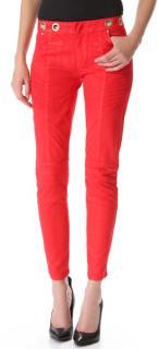 Pierre Balmain Coated Red Biker Jeans in Size 24