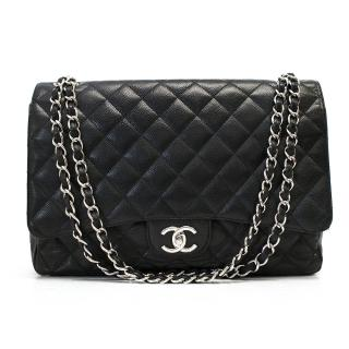 Chanel Black Caviar Jumbo Flat Bag