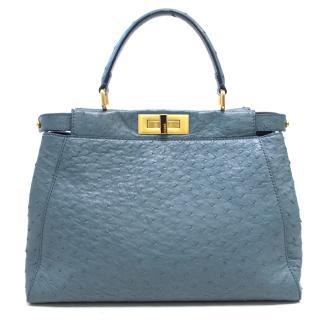 Fendi Ostrich Peekaboo Blue Bag