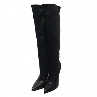 Gianmarco Lorenzi black snakeskin boots