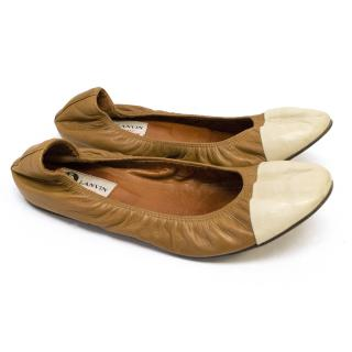 Lanvin Brown and Nude Ballet Flats