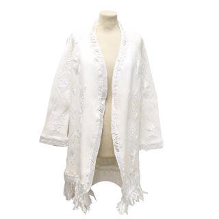 Christian Dior White Knit and Macrame Coat