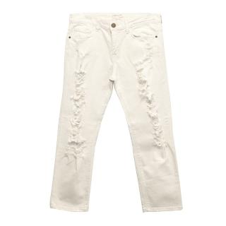 Current/Elliot Off White Distressed Boyfriend Jeans