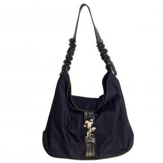 Maison Du Posh Oversized Panther Lock Denim and Leather Shoulder Bag