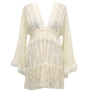 Anna Sui Cream Lace Top