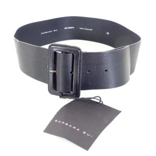 BARBARA BUI Large Black Leather Belt