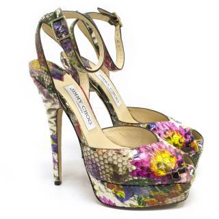 Jimmy Choo Floral Print Python Peep Toe Heels