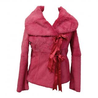Patty Shelabarger fuchsia fur jacket