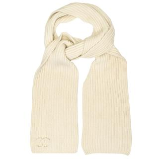 Chanel Cream Cashmere Chunky Knit Scarf