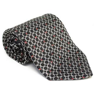 Zilli Black Patterned Tie and Pocket Square