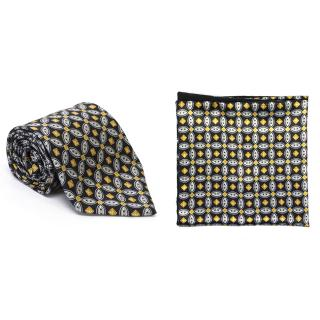 Zilli Navy printed tie and Pocket Square