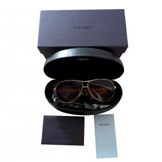 Prada gold frame aviator sunglasses