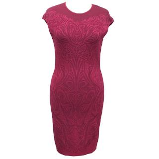 RVN Hot Pink Laser Cut Fit and Flare Dress