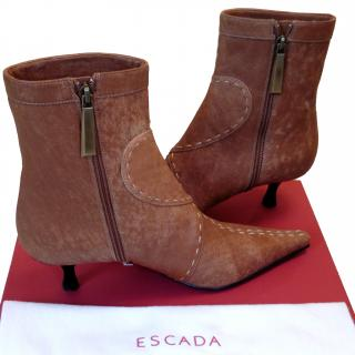 Escada tan ankle boots with stitch embellishment