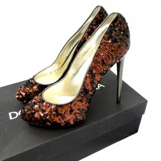 Dolce & gabbana dark brown sequinned  ladies high heel shoe leather upper and sole size 42 �495.00