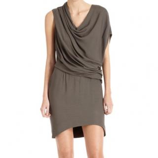 Helmut Lang Grey Prism Drape Dress Brand New