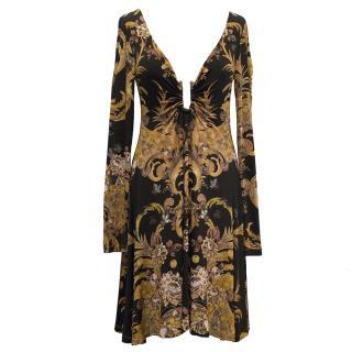 Just Cavalli Long Sleeve Printed Dress