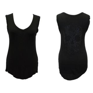 Zadig & Voltaire Black Vest Top with Skull Embellishment