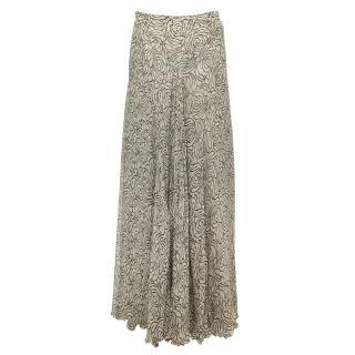 Donna Karan Silk Swirl Print Maxi Skirt