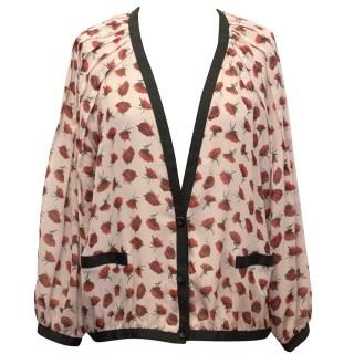 Thakoon Silk Rose Printed Cardigan