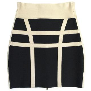 Herve Leger Navy and Beige Skirt