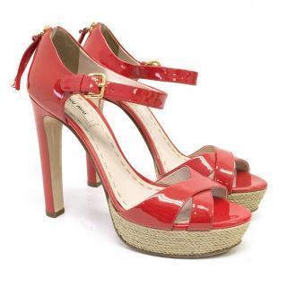 Miu Miu Red Heeled Sandals