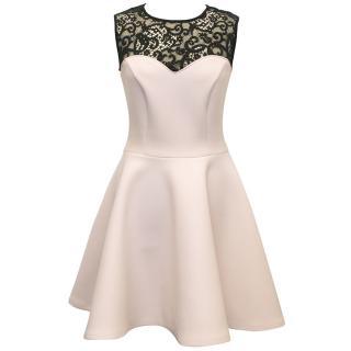 MSGM Pink Scuba Dress with Lace