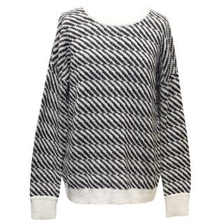 Theory White and Navy Patterned Jumper
