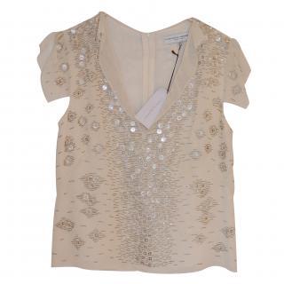 Carolina Herrera Beautiful Ivory Silk Beaded Top