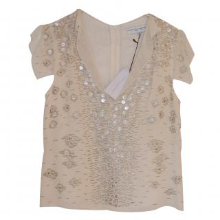Carolina Herrera Beautiful Ivory Silk Beaded Top