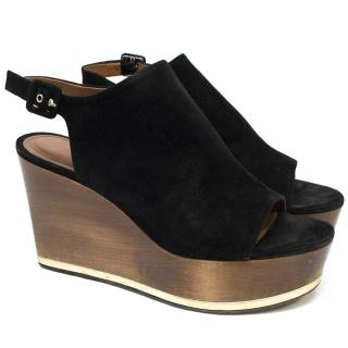 Givenchy Black Suede Wedge Sandals