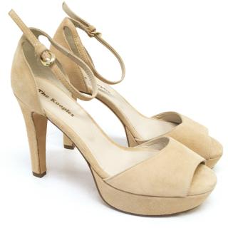 The Kooples Beige Suede Peep Toe Heels