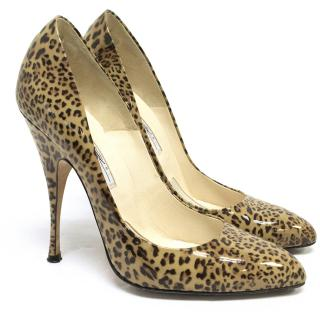 Brian Atwood Leopard Print Patent Pumps
