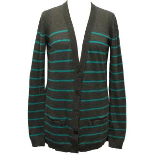 Theory Grey and Green Striped Cardigan